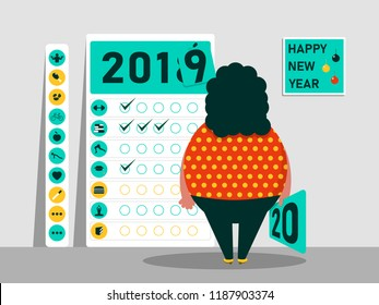 Tasks and plan for 2019 - 2020. Calendar of habits. Funny fat character. Happy New Year. Vector illustration.