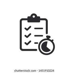 Tasks. Vector icon. Clipboard - vector icon. Clipboard icon. Task done. Signed approved document icon. Project completed. Speed responses. Answer on questions. Out on time. Stopwatch sign.