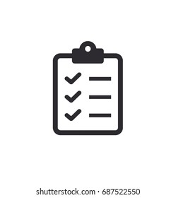 Tasks. Vector icon. Clipboard - vector icon. Clipboard icon. Task done. Signed approved document icon. Project completed. Check Mark sign. Worksheet sign. Vector illustration. Survey.