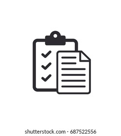 Tasks - vector icon. Clipboard - vector icon. clipboard icon /  Task done. Signed approved document icon. Project completed