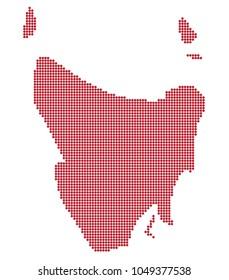 A Tasmania Australia dot map isolated on a white background