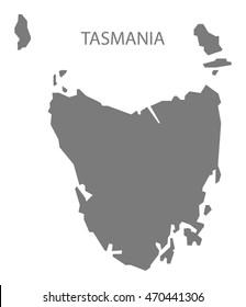 Tasmania Australia Map in grey