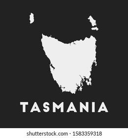 Tasmania icon. Island map on dark background. Stylish Tasmania map with island name. Vector illustration.