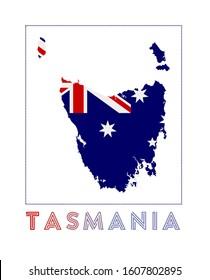 Tasmania Logo. Map of Tasmania with island name and flag. Radiant vector illustration.