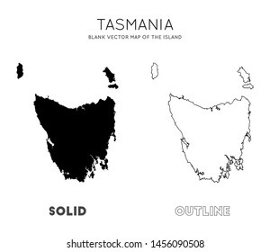 Tasmania map. Blank vector map of the Island. Borders of Tasmania for your infographic. Vector illustration.