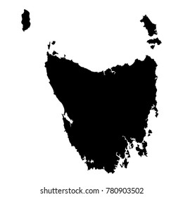 Tasmania map. Island silhouette icon. Isolated Tasmania black map outline. Vector illustration.