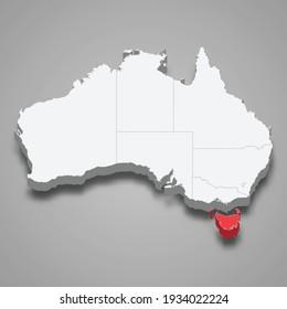 Tasmania region location within Australia 3d isometric map
