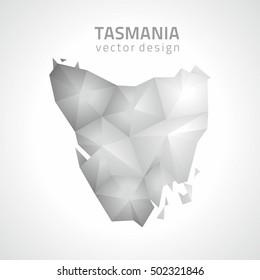 Tasmania vector grey and silver 3d polygonam map