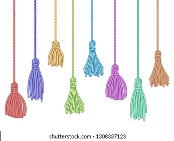 Tassel trim. Fabric curtain tassels, fringe bunch on rope and pillow colorful embelishments. Garment fringe embellishment bunch, ruffle yarns brush. Isolated vector symbols set