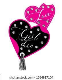 \ntasseled heart, love girl chic text, for t-shirt design