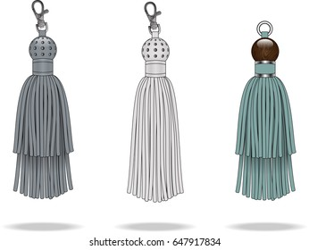 Tassels with metal studs illustration