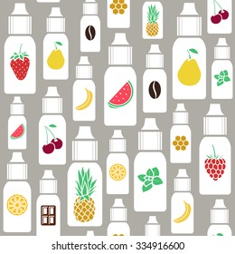 The taste of the electronic cigarette, pattern of  E-Liquid. Vector  seamless pattern of different flavor. Endless background