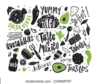 Taste of Mexico. Hand drawn illustration and lettering with different mexican food and symbols.