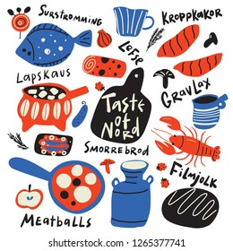 Taste of nord. Funny hand drawn typographic illustration of different scandinavian food and kitchen ware. Names of dishes. Vector
