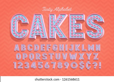 Сomical tasty 3d display font design, alphabet, letters and numbers. Swatch color control.