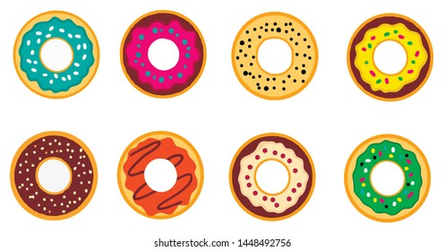 Tasty bakery product. Set of delicious colorful donuts.