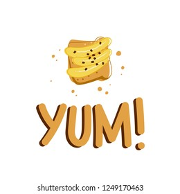 Tasty banana tost with  yum text. Vector illustration for cards,stickers,posters etc.