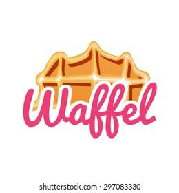Tasty Belgian Waffle logo design. Vector illustration
