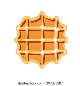 Tasty Belgian Waffle. Vector illustration