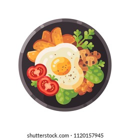 Tasty breakfast flat illustration. Dish with omelet, tomatoes, fried potatoes, mushrooms and salad.
