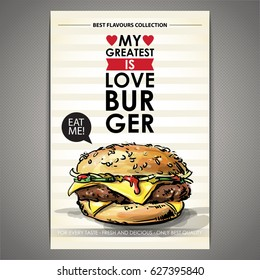 Tasty burger poster. Sketch + watercolor style. Vector illustration.