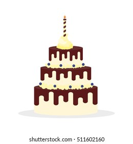 Tasty cake with chocolate cream and candle for birthdays, weddings, anniversaries and other celebrations. Vector illustration of a flat design isolated on white background