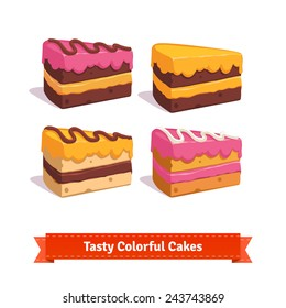 Tasty cake slices with frosting and cream. Flat style illustration.