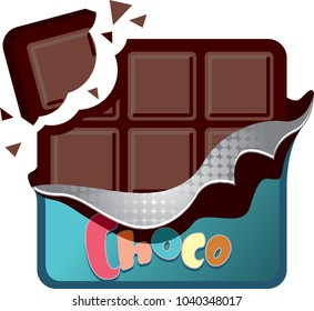Tasty chocolate bar with broken piece in open package isolated on white background. Vector illustration