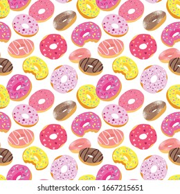 Tasty colorful donuts with glaze and sprinkles. Hand drawn seamless pattern on white background. Vector decorative elements for design cards, textile or packing paper, banner or poster.