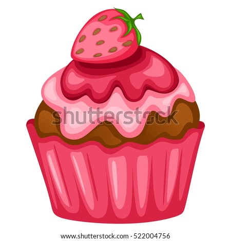 Tasty Cupcake Illustration with Strawberry