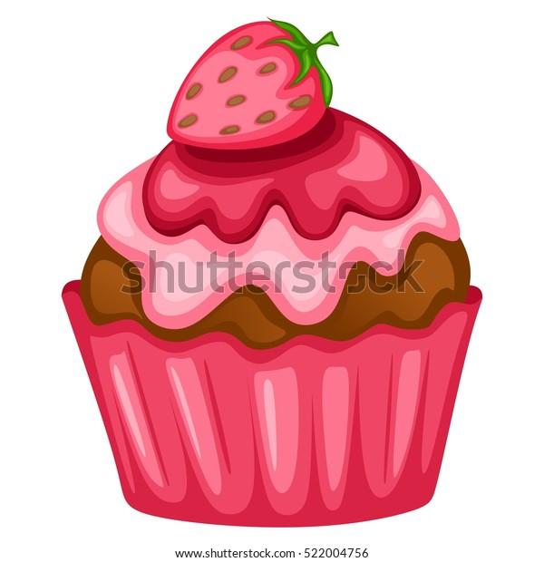 Tasty Cupcake Illustration with Strawberry