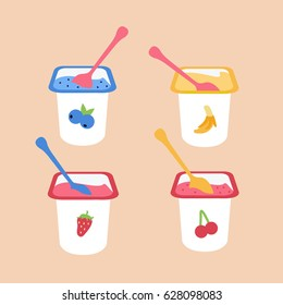 tasty & delicious flat design style clean dairy strawberry, cherry, blueberries & banana yogurt in open plastic cup & spoon inside. yogurt with many fruits isolated. baby food icon vector simple print