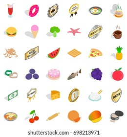 Tasty dish icons set. Isometric 36 tasty dish vector icons for web isolated on white background