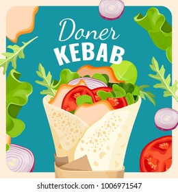Tasty doner kebab with chicken and vegetables promotional poster