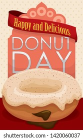 Tasty doughnut with vanilla glaze and some cinnamon powder, filled with chocolate cream over sign and greeting ribbon, ready for a happy and delicious Doughnut Day celebration.