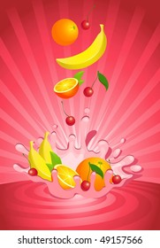 Tasty fruit in yoghurt - vector illustration