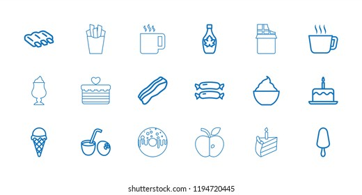 Tasty icon. collection of 18 tasty outline icons such as sausage, cake with one candle, tea, ice cream on stick, maple syrup. editable tasty icons for web and mobile.