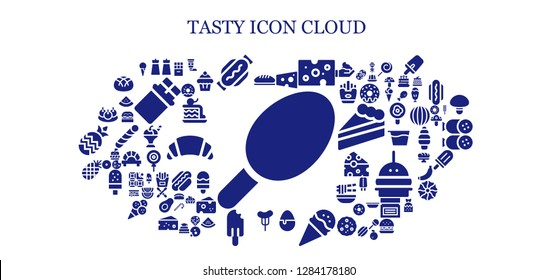 tasty icon set. 93 filled tasty icons. Simple modern icons about  - Cotton candy, Bread, Salt, Hot dog, Cheese, Candy, Ice cream, Sausage, Popsicle, Pineapple, Bitterballen, Chocolate