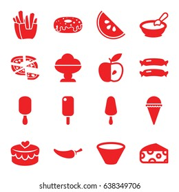 Tasty icons set. set of 16 tasty filled icons such as sausage, cheese, porridge, french fries, ice cream, ice cream on stick, donut, pizza, pepper, apple, heart lock, bowl
