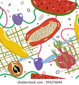 Tasty juicy fruits. Delicious fruits seamless vector pattern. Good for printing on tablecloth or towel
