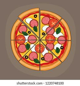 Tasty looking sliced salami pizza with tomatos, mozzarella, olives and basil - original hand drawn illustration.