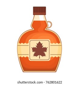Tasty maple syrup on white background, vector illustration.