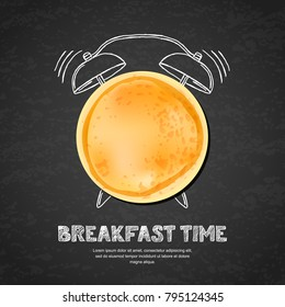 Tasty pancake, letters and hand drawn watercolor alarm clock on textured black board slate background. Vector design for breakfast menu, cafe, restaurant. Fast food background.