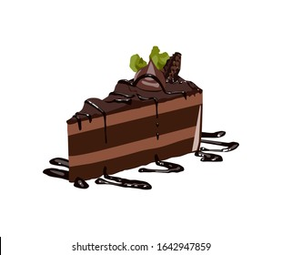 Tasty piece of chocolate cake with mint on wooden table background, vector illustration