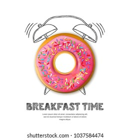 Tasty pink glazed donut, letters and hand drawn watercolor alarm clock isolated on white background. Vector design for breakfast menu, cafe, bakery. Fast food background.