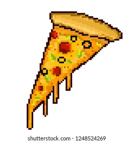 Tasty pizza slice. Pixel art. Vector illustration.