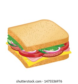 Tasty sandwich with cheese, salami and vegetables on white background, vector illustration
