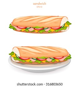 Tasty sandwich (on white plate), Vector illustration