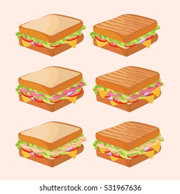 Tasty sandwiches with different fillings. Vector illustration.
