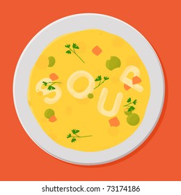 Tasty soup in white bowl. Vector illustration.